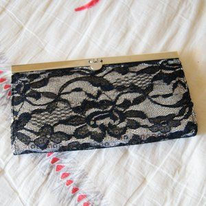 Bebe Lace Detail Clutch with Clasp